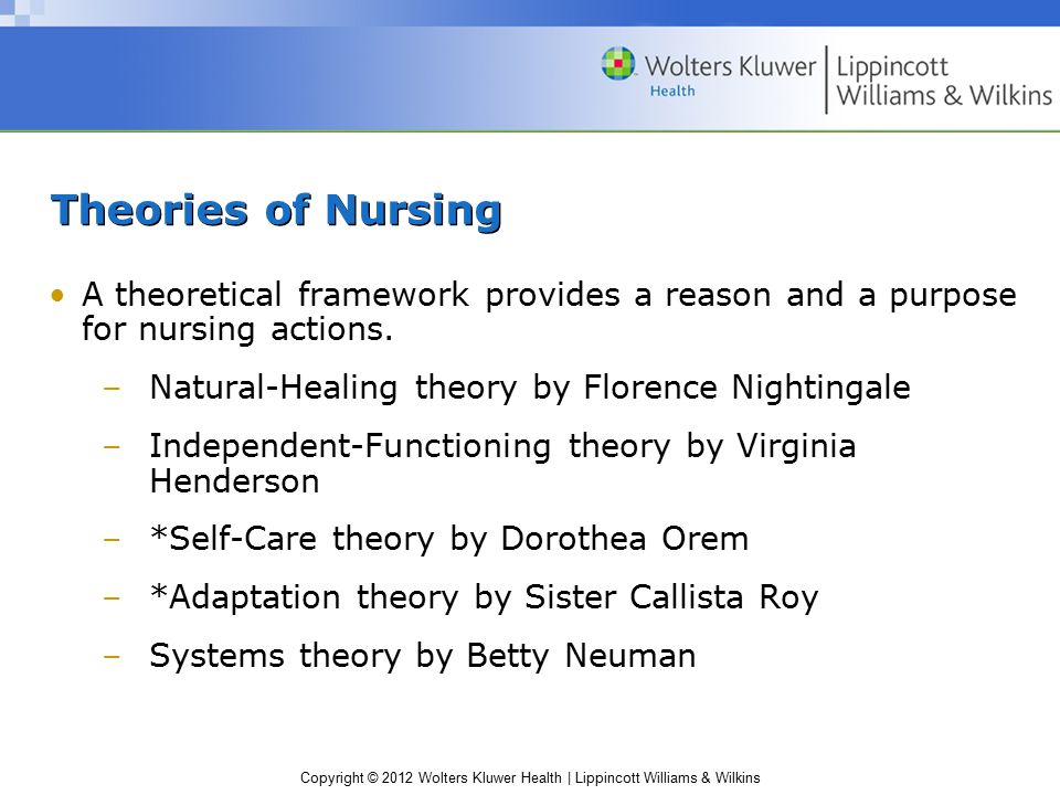 Copyright © 2012 Wolters Kluwer Health | Lippincott Williams & Wilkins Theories of Nursing A theoretical framework provides a reason and a purpose for nursing actions.