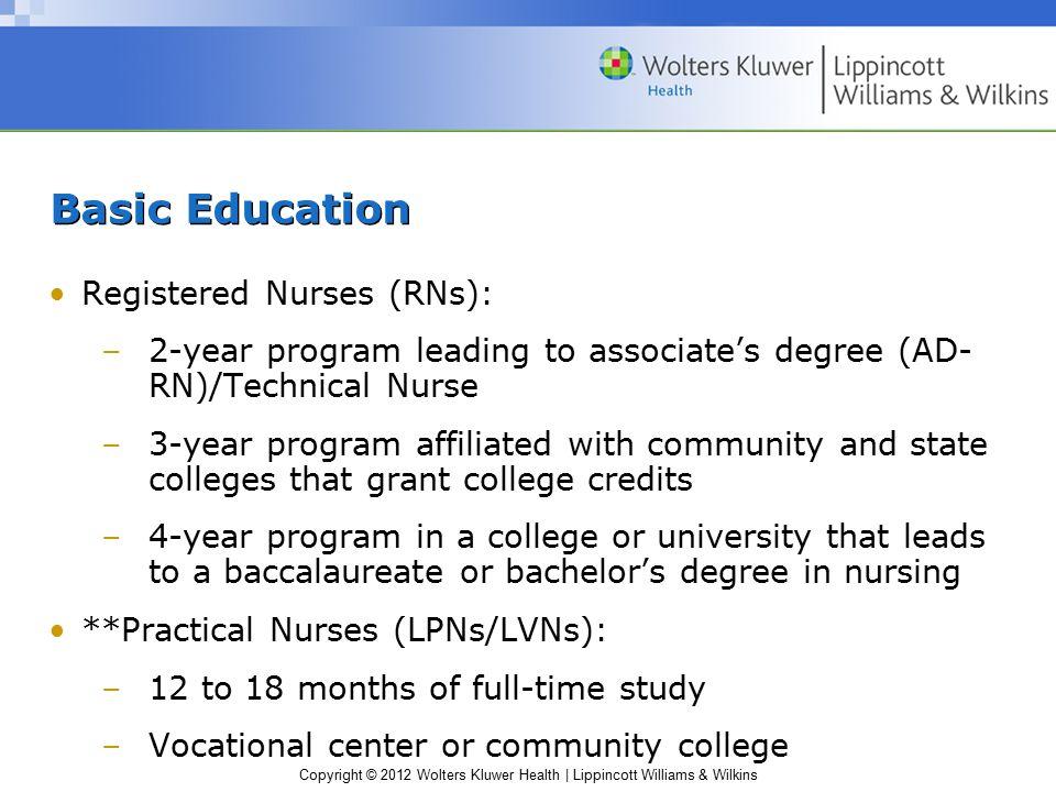 Copyright © 2012 Wolters Kluwer Health | Lippincott Williams & Wilkins Basic Education Registered Nurses (RNs): –2-year program leading to associate's
