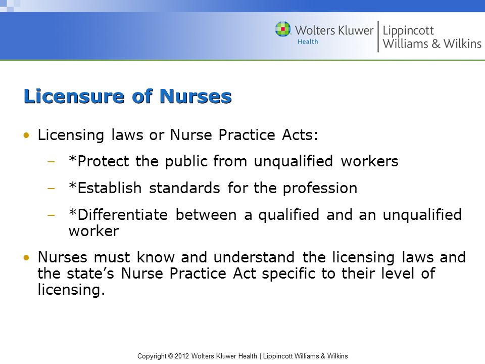 Copyright © 2012 Wolters Kluwer Health | Lippincott Williams & Wilkins Licensure of Nurses Licensing laws or Nurse Practice Acts: –*Protect the public from unqualified workers –*Establish standards for the profession –*Differentiate between a qualified and an unqualified worker Nurses must know and understand the licensing laws and the state's Nurse Practice Act specific to their level of licensing.