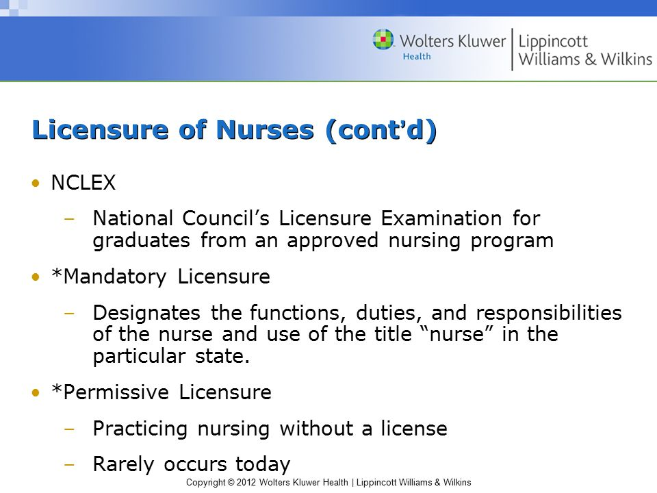 Copyright © 2012 Wolters Kluwer Health | Lippincott Williams & Wilkins Licensure of Nurses (cont'd) NCLEX –National Council's Licensure Examination for graduates from an approved nursing program *Mandatory Licensure –Designates the functions, duties, and responsibilities of the nurse and use of the title nurse in the particular state.