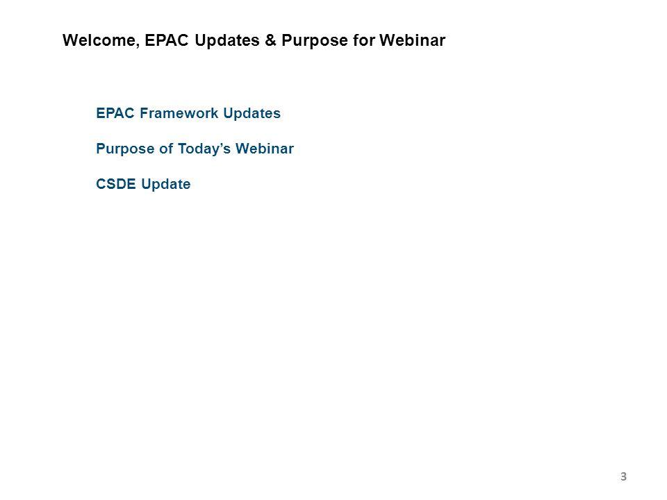 3 Welcome, EPAC Updates & Purpose for Webinar EPAC Framework Updates Purpose of Today's Webinar CSDE Update
