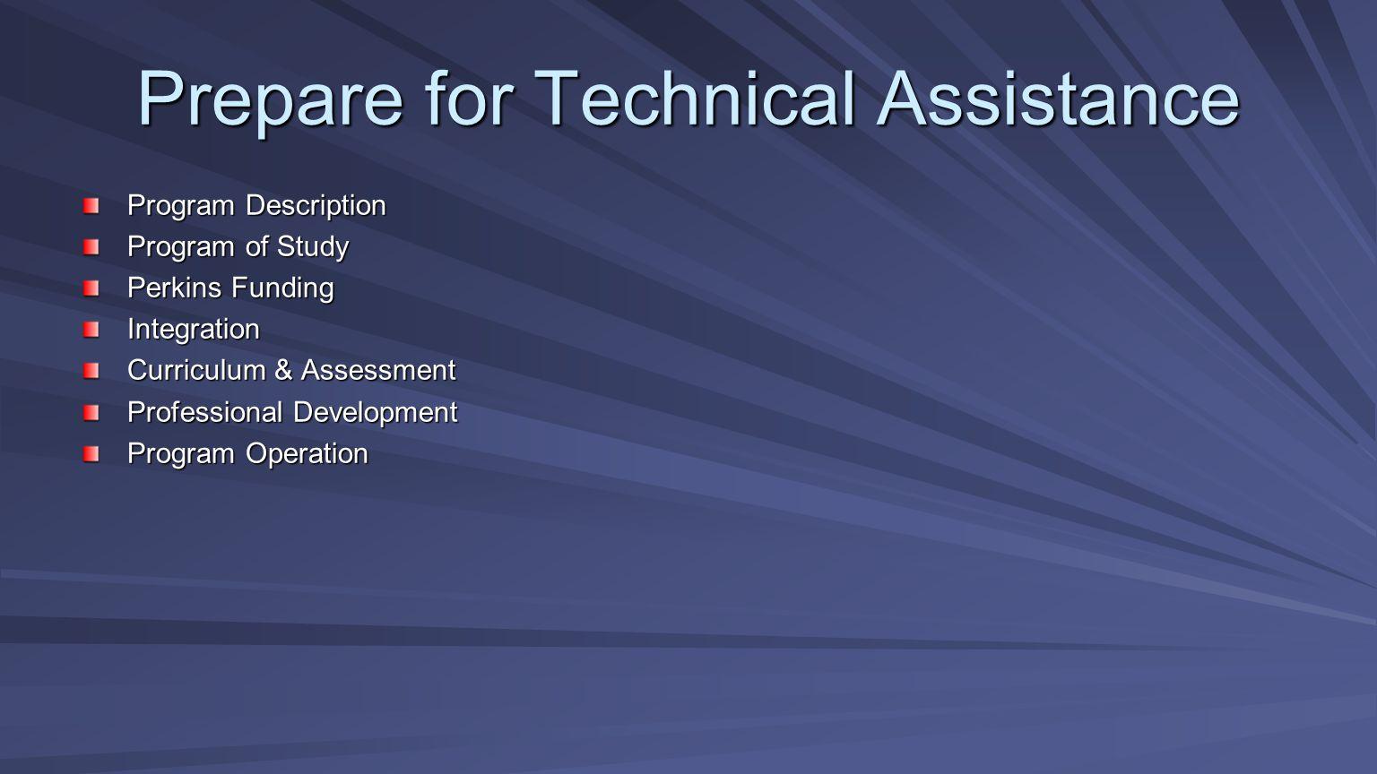 Prepare for Technical Assistance Program Description Program of Study Perkins Funding Integration Curriculum & Assessment Professional Development Pro