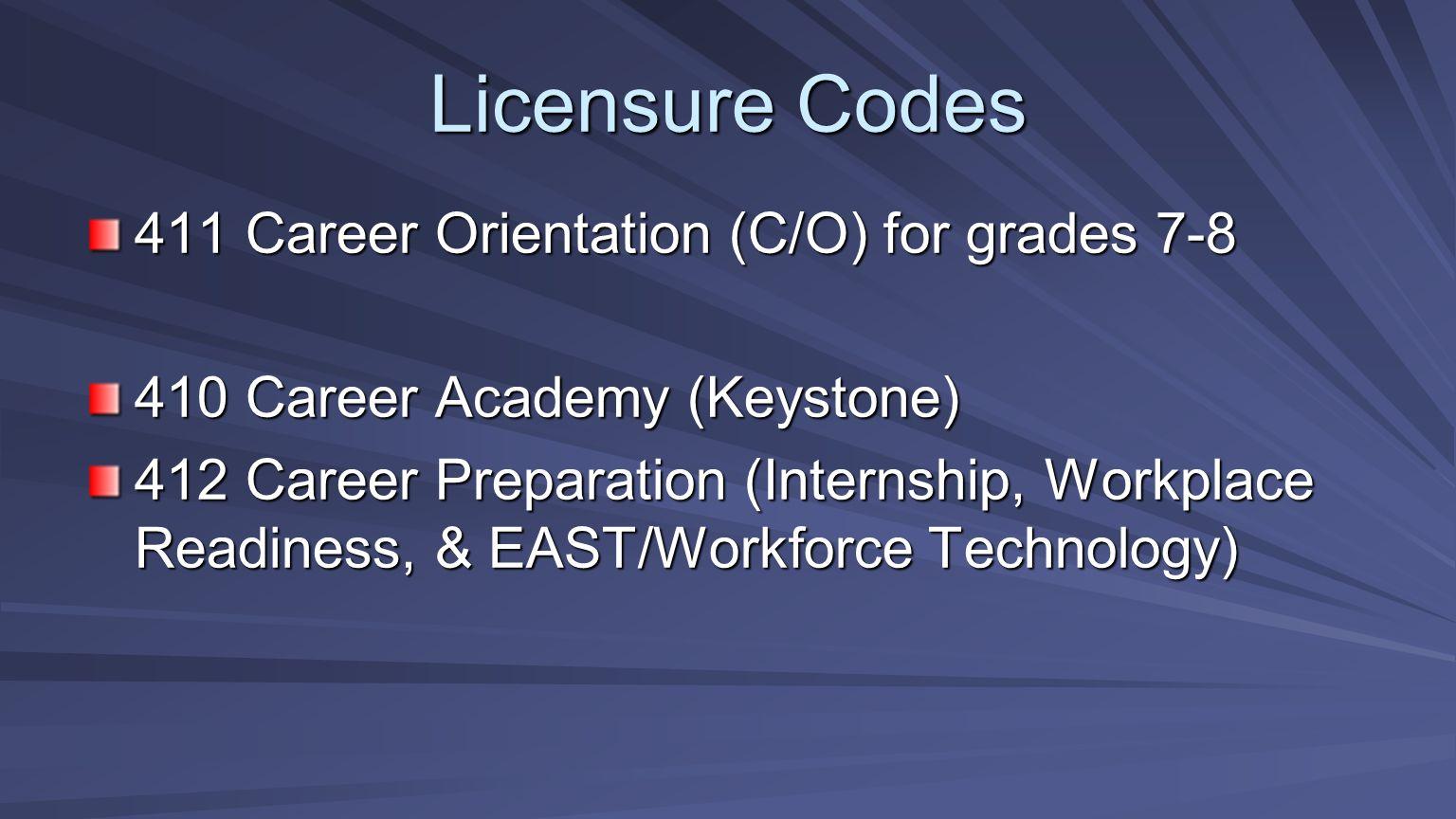 411 Career Orientation (C/O) for grades 7-8 410 Career Academy (Keystone) 412 Career Preparation (Internship, Workplace Readiness, & EAST/Workforce Te