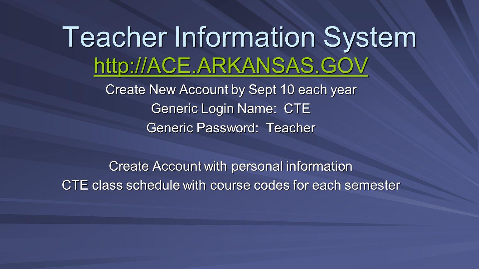 Teacher Information System http://ACE.ARKANSAS.GOV Create New Account by Sept 10 each year Generic Login Name: CTE Generic Password: Teacher Create Ac