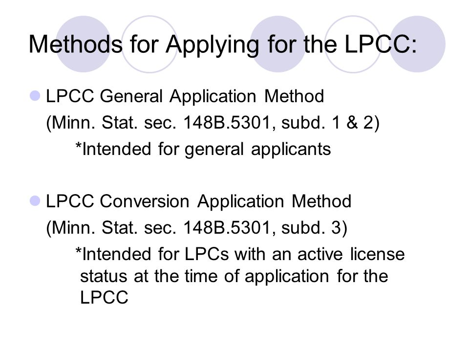 Methods for Applying for the LPCC: LPCC General Application Method (Minn.