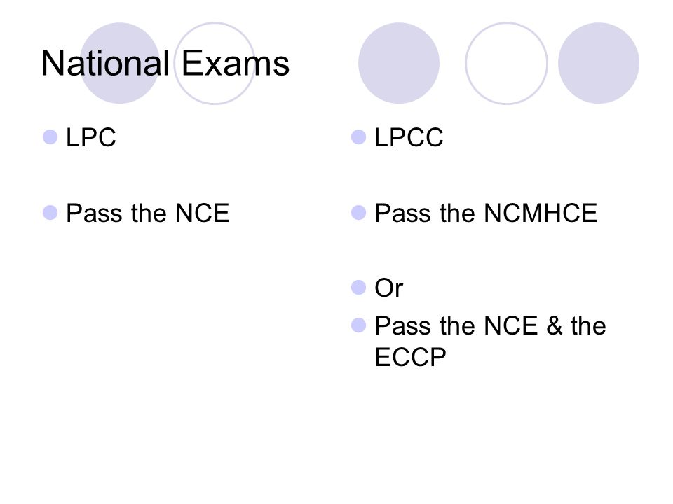National Exams LPC Pass the NCE LPCC Pass the NCMHCE Or Pass the NCE & the ECCP