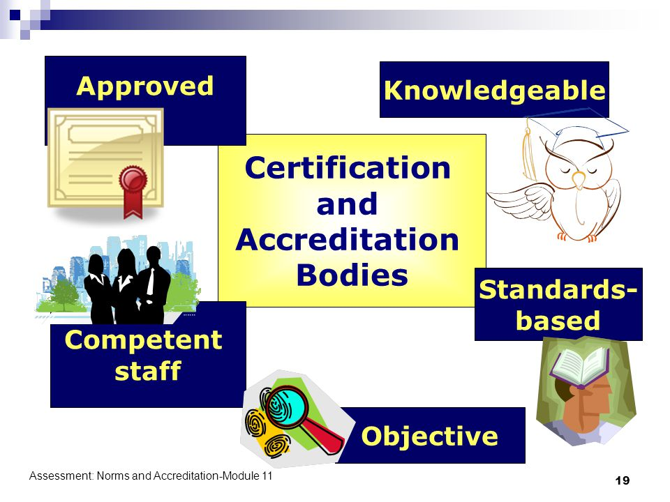 Assessment: Norms and Accreditation-Module 11 19 Certification and Accreditation Bodies Competent staff Objective Standards- based Knowledgeable Approved