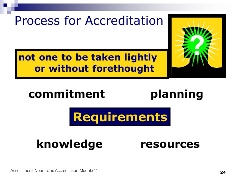 Assessment: Norms and Accreditation-Module 11 24 Process for Accreditation not one to be taken lightly or without forethought Requirements knowledgere