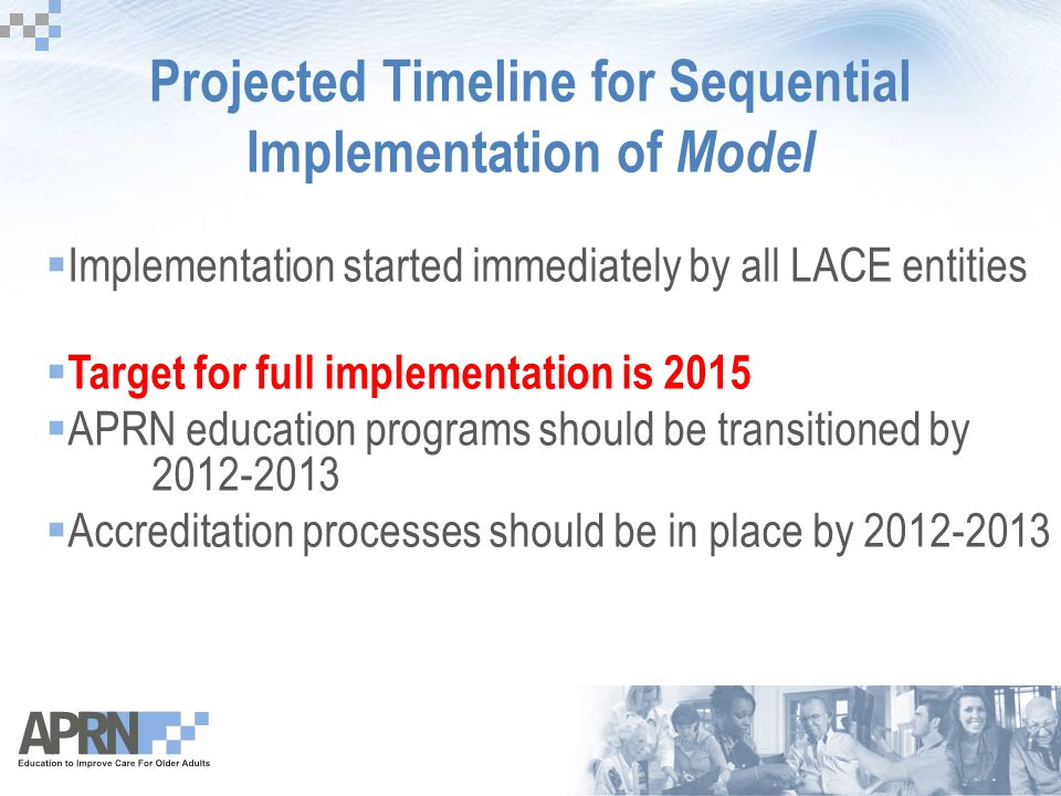 Projected Timeline for Sequential Implementation of Model  Implementation started immediately by all LACE entities  Target for full implementation i