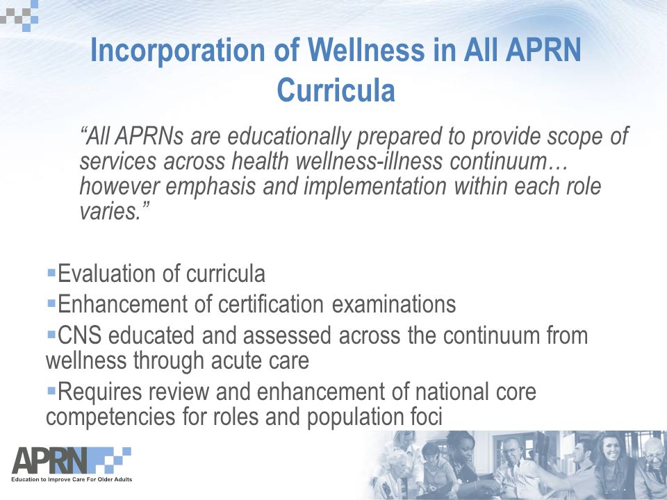 "Incorporation of Wellness in All APRN Curricula ""All APRNs are educationally prepared to provide scope of services across health wellness-illness cont"