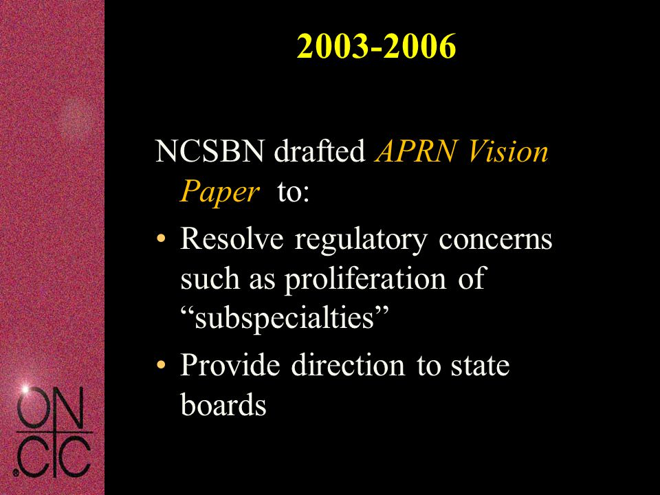 2003-2006 NCSBN drafted APRN Vision Paper to: Resolve regulatory concerns such as proliferation of subspecialties Provide direction to state boards