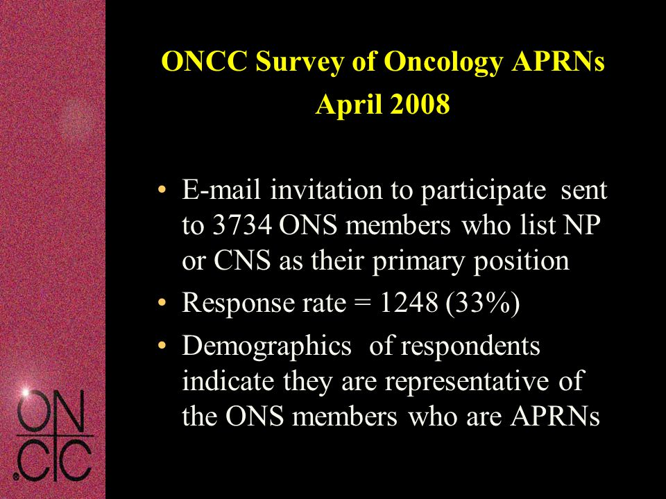 ONCC Survey of Oncology APRNs April 2008 E-mail invitation to participate sent to 3734 ONS members who list NP or CNS as their primary position Response rate = 1248 (33%) Demographics of respondents indicate they are representative of the ONS members who are APRNs