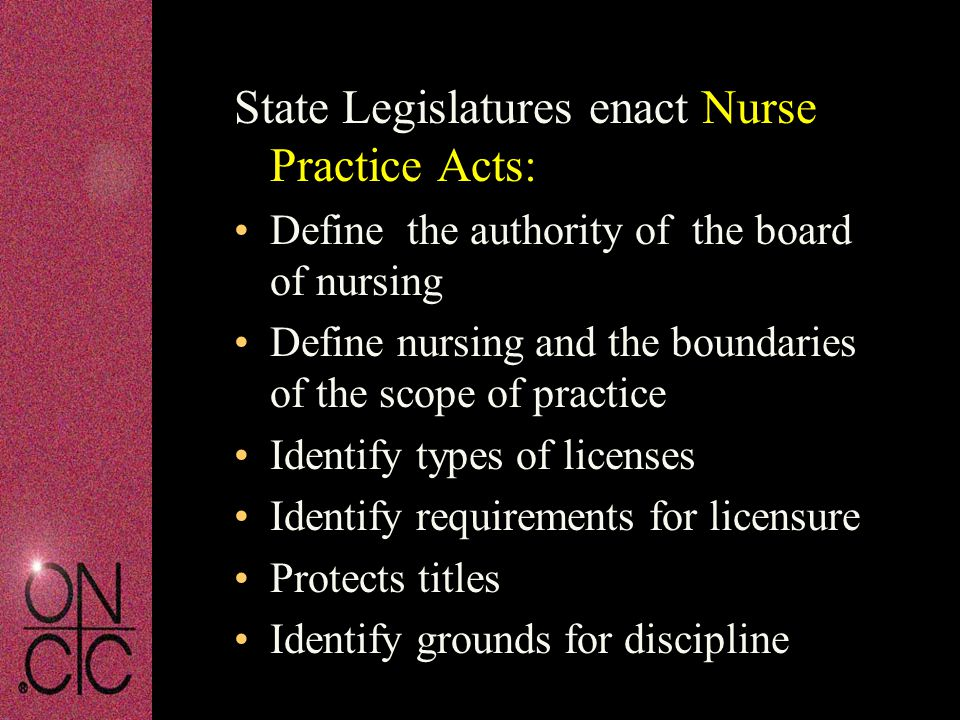 State Legislatures enact Nurse Practice Acts: Define the authority of the board of nursing Define nursing and the boundaries of the scope of practice