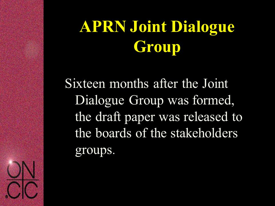 Sixteen months after the Joint Dialogue Group was formed, the draft paper was released to the boards of the stakeholders groups.