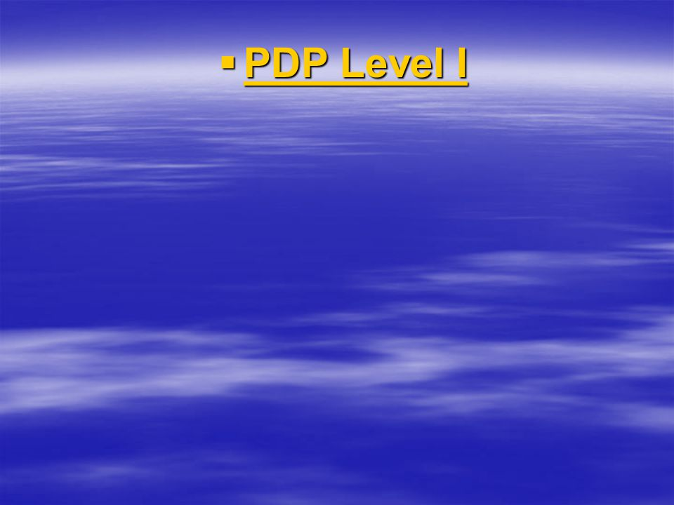  PDP Level I PDP Level I PDP Level I