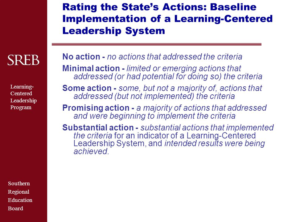 Southern Regional Education Board Learning- Centered Leadership Program Recommendations: Professional-level Licensure  Use licensure to ensure  competent performance from the start; and  job performance that improves student learning  Require reliable evidence of performance – not just program completion  Align licensure tests with learning-focused standards  Provide induction programs that develop proficient performance of standards