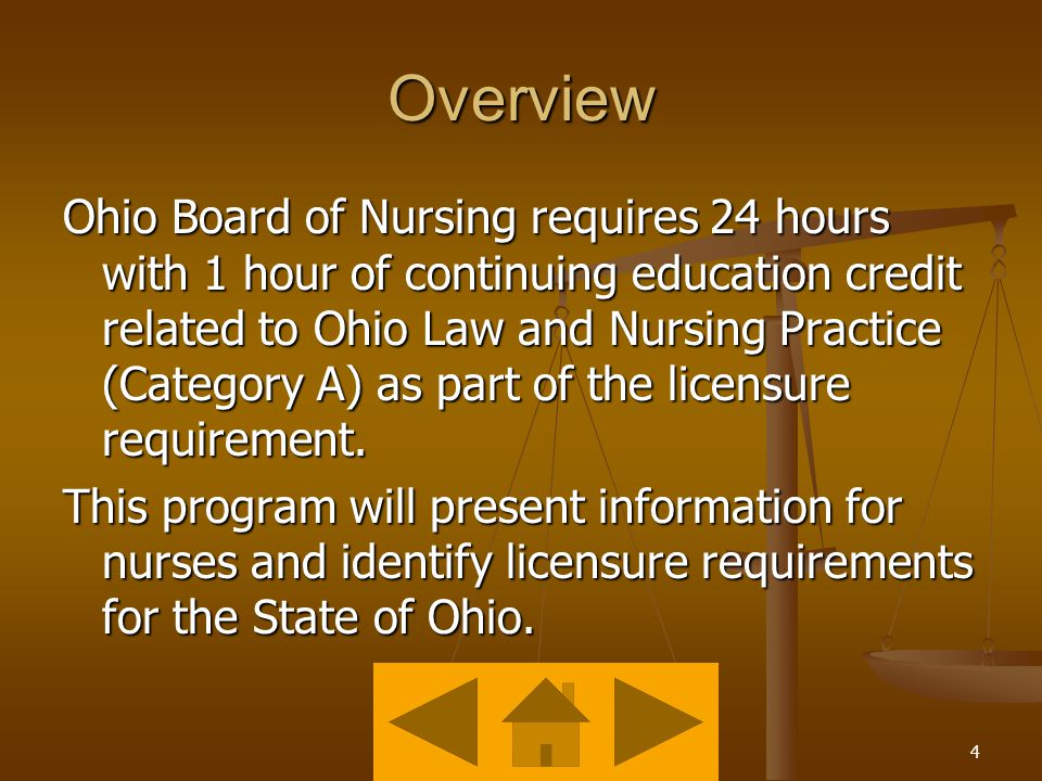3 Objective Identify continuing education requirements for license renewal for Registered Nurses practicing in the State of Ohio as identified in ORC 4723.4.