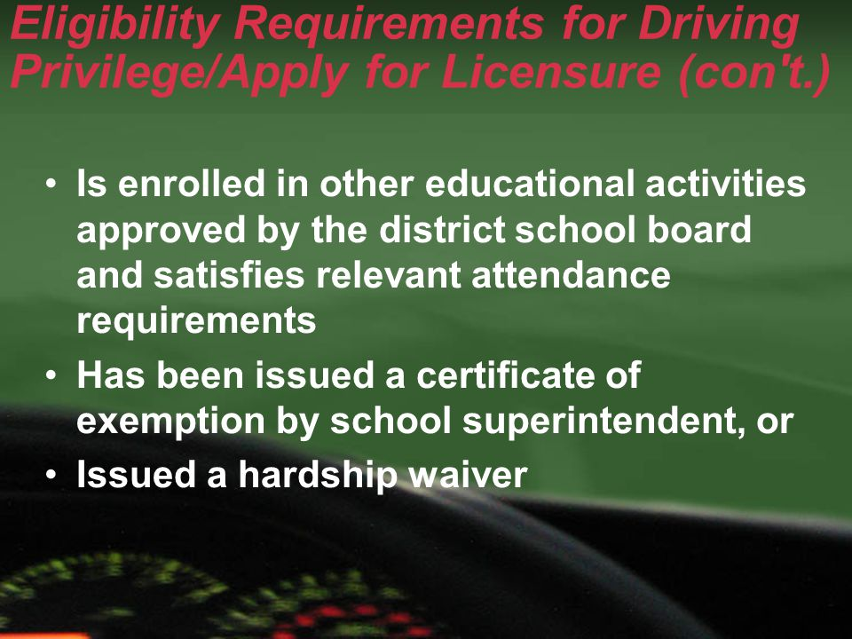 Reinstatement Requirements 30 days of attendance with no unexcused absences for public schools and non-public schools Six consecutive weeks of attendance with no unexcused absences for GED programs, vocational schools or adult education Proof of enrollment/registration is not acceptable for reinstatement
