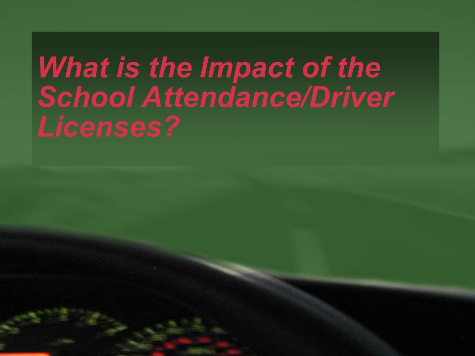 What is the Impact of the School Attendance/Driver Licenses?