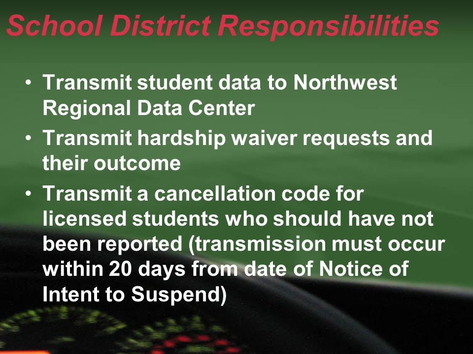 School District Responsibilities Transmit student data to Northwest Regional Data Center Transmit hardship waiver requests and their outcome Transmit a cancellation code for licensed students who should have not been reported (transmission must occur within 20 days from date of Notice of Intent to Suspend)