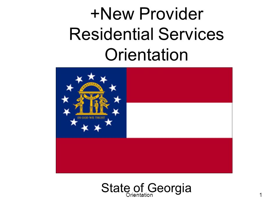 Orientation1 +New Provider Residential Services Orientation State of Georgia