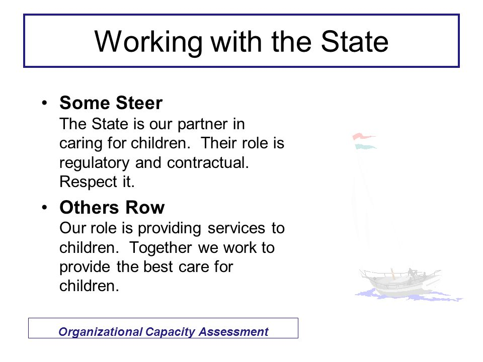 Working with the State Some Steer The State is our partner in caring for children.