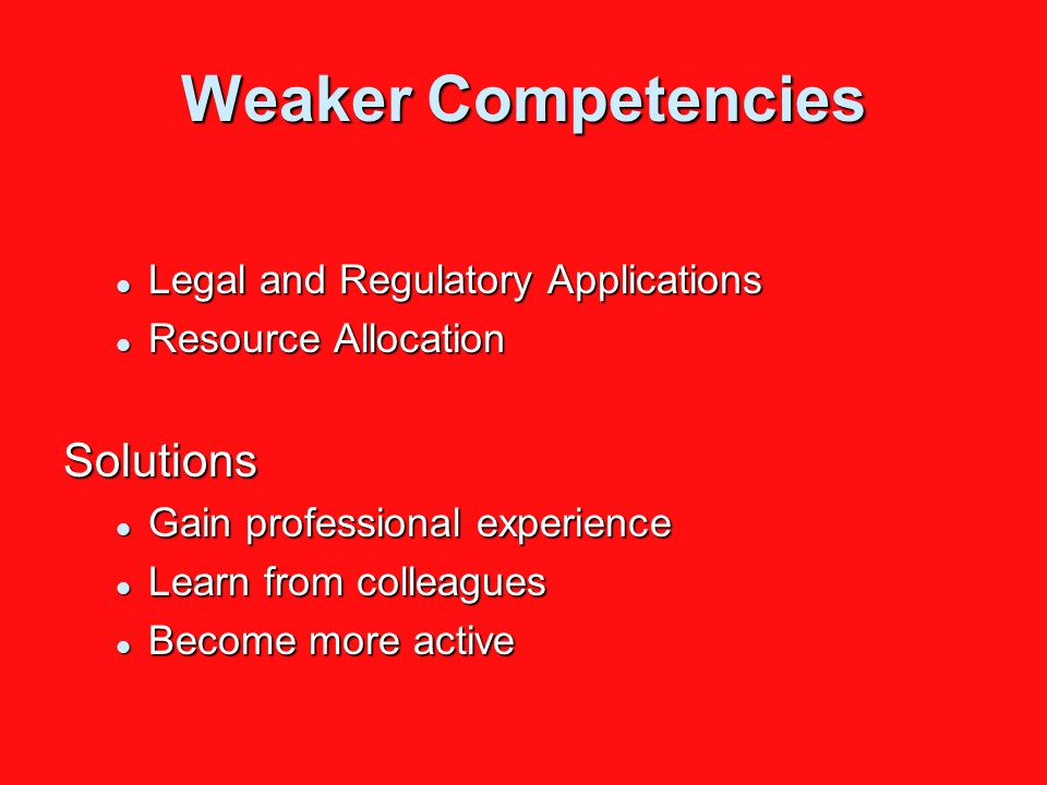 Weaker Competencies Legal and Regulatory Applications Legal and Regulatory Applications Resource Allocation Resource AllocationSolutions Gain professional experience Gain professional experience Learn from colleagues Learn from colleagues Become more active Become more active