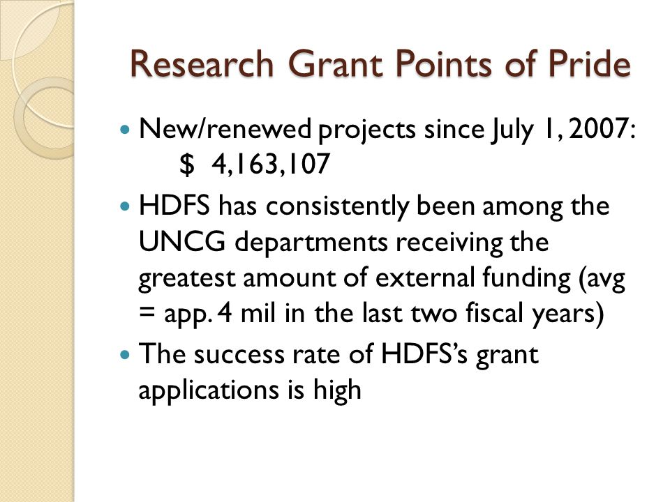 Research Grant Points of Pride New/renewed projects since July 1, 2007: $ 4,163,107 HDFS has consistently been among the UNCG departments receiving the greatest amount of external funding (avg = app.