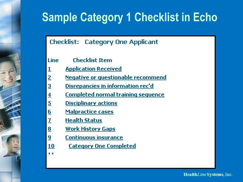 HealthLine Systems, Inc. Sample Category 1 Checklist in Echo