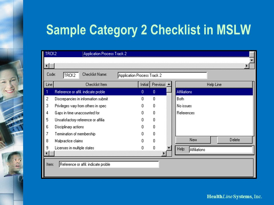 HealthLine Systems, Inc. Sample Category 2 Checklist in MSLW