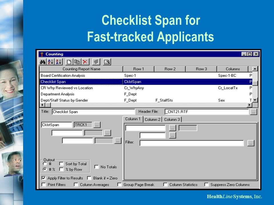 HealthLine Systems, Inc. Checklist Span for Fast-tracked Applicants