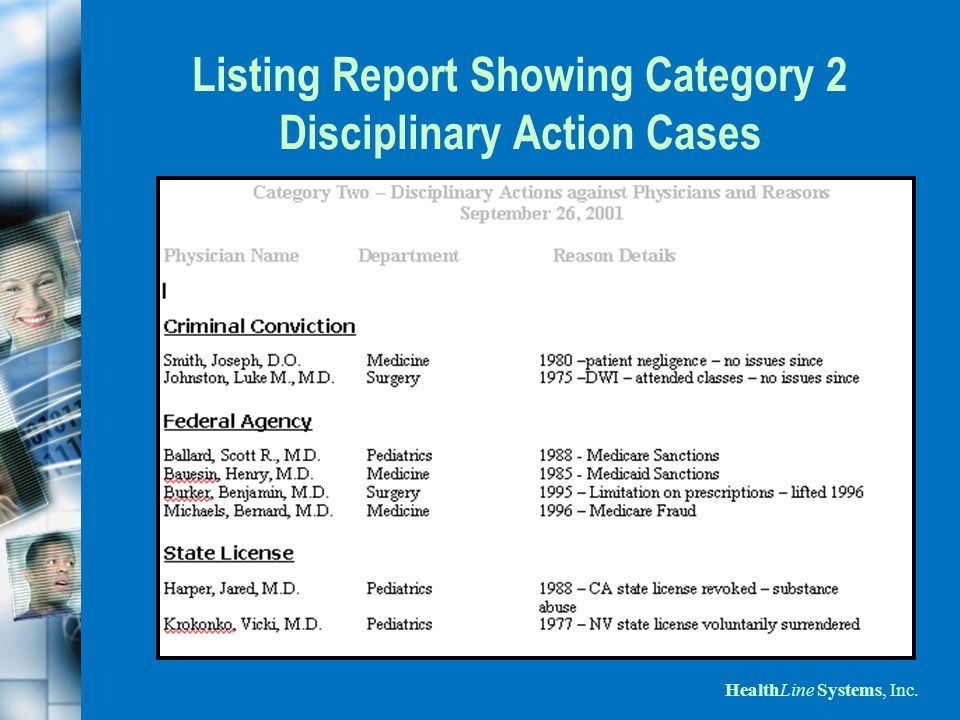 HealthLine Systems, Inc. Listing Report Showing Category 2 Disciplinary Action Cases