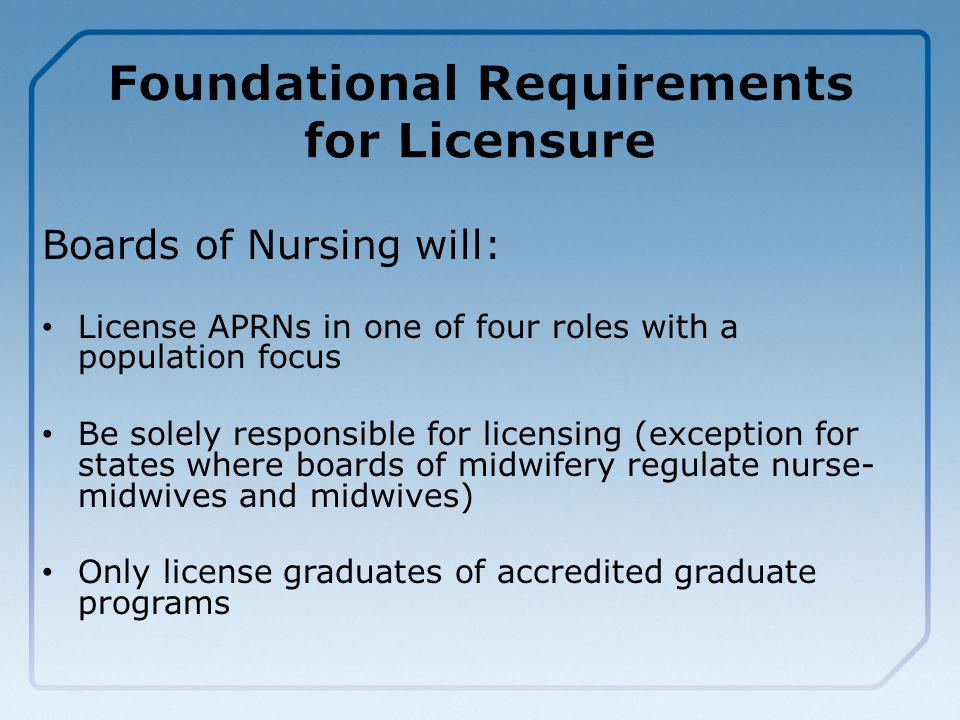 Boards of Nursing will: License APRNs in one of four roles with a population focus Be solely responsible for licensing (exception for states where boards of midwifery regulate nurse- midwives and midwives) Only license graduates of accredited graduate programs