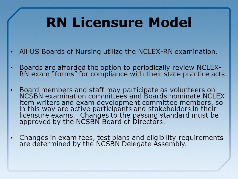 RN Licensure Model All US Boards of Nursing utilize the NCLEX-RN examination.