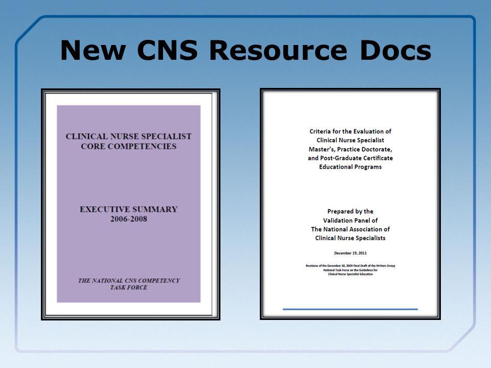 New CNS Resource Docs