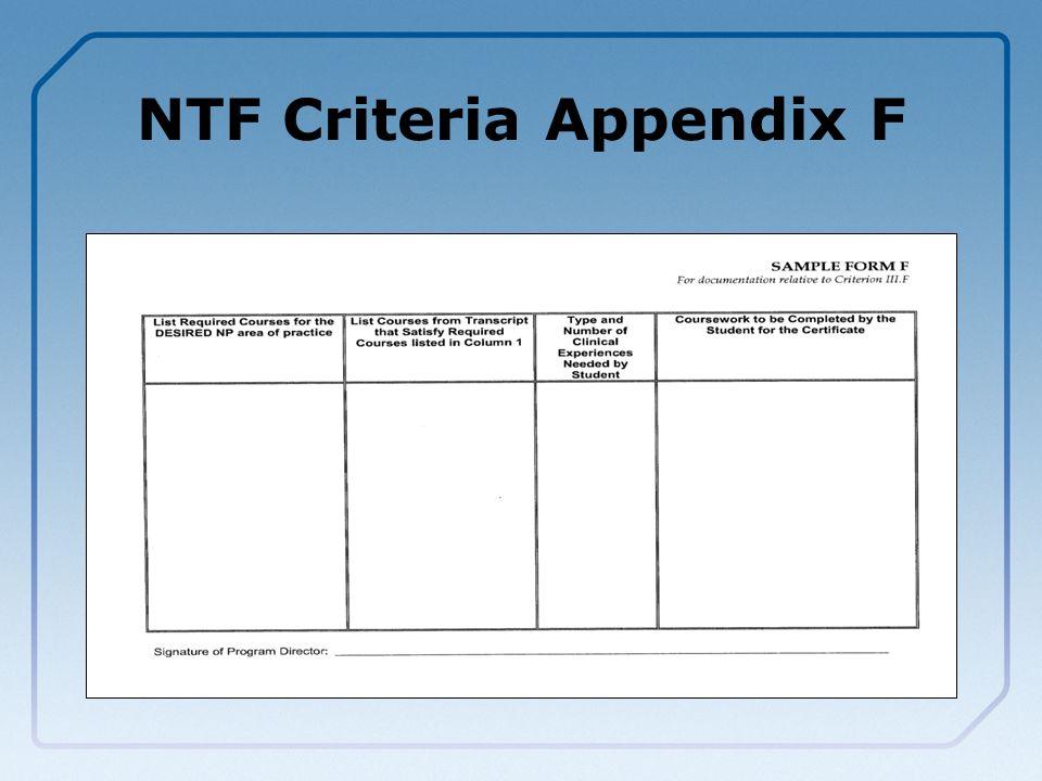 NTF Criteria Appendix F