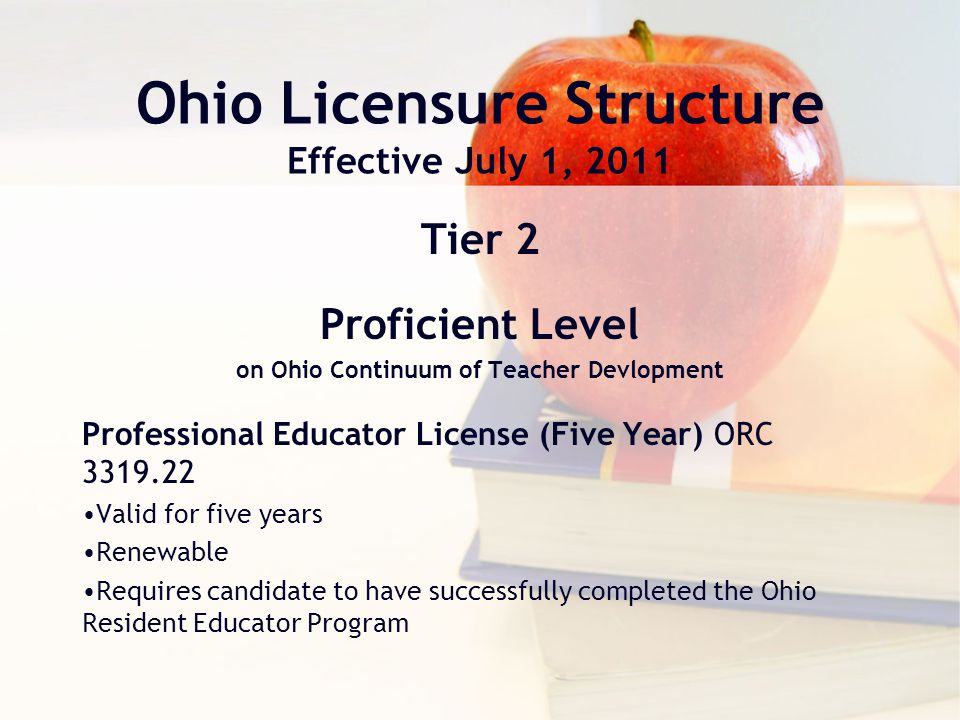 Ohio Licensure Structure Effective July 1, 2011 Tier 2 Proficient Level on Ohio Continuum of Teacher Devlopment Professional Educator License (Five Year) ORC 3319.22 Valid for five years Renewable Requires candidate to have successfully completed the Ohio Resident Educator Program