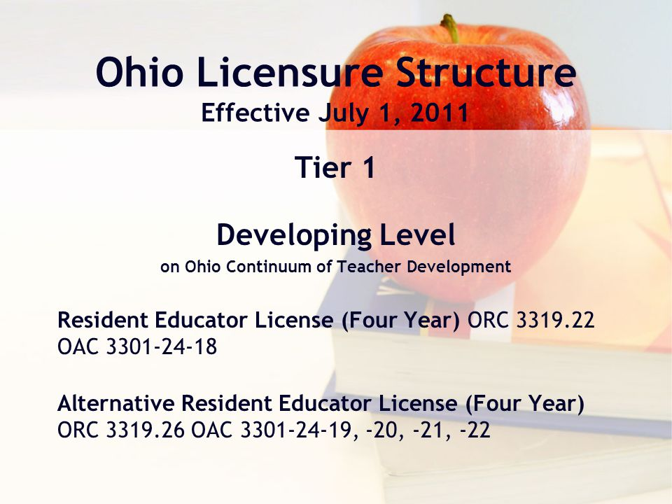 License Renewal License Transition or Renewal through the ODE Resident Educator Licenses 2-year Provisional Licenses (for educators not eligible to be in the RE program.) Various other Supplemental, Alternative, Out-of-State, and Special Licenses and Certificates Expired Professional Educator licenses if the educator is not currently employed by an Ohio school district Addition of license endorsements