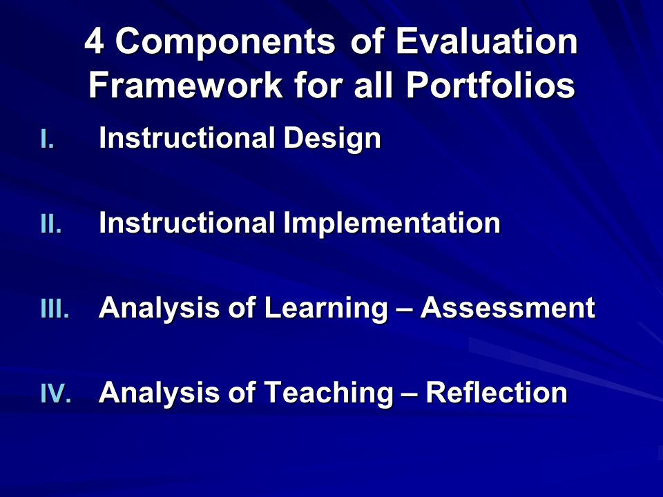 4 Components of Evaluation Framework for all Portfolios I.