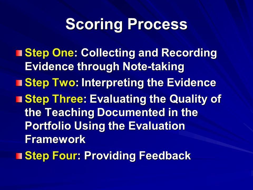 Scoring Process Step One: Collecting and Recording Evidence through Note-taking Step Two: Interpreting the Evidence Step Three: Evaluating the Quality of the Teaching Documented in the Portfolio Using the Evaluation Framework Step Four: Providing Feedback
