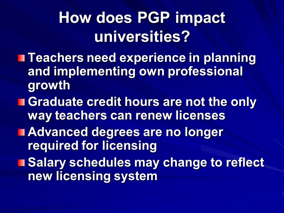 How does PGP impact universities.