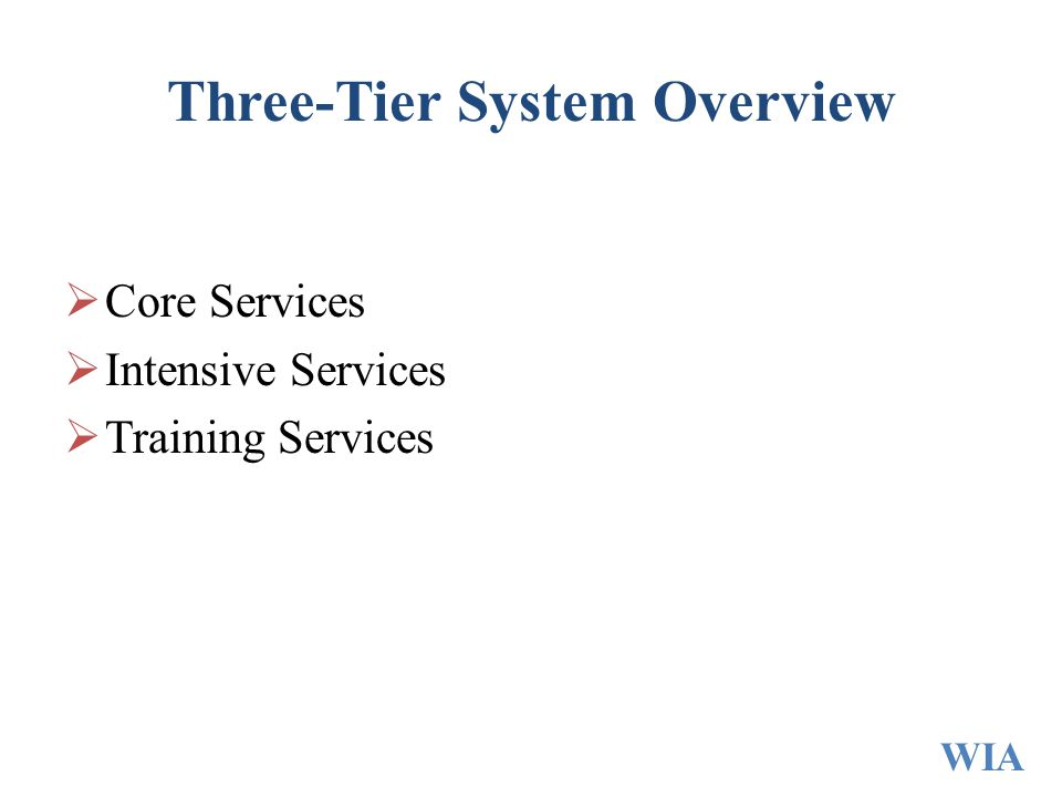 Three-Tier System Overview  Core Services  Intensive Services  Training Services WIA