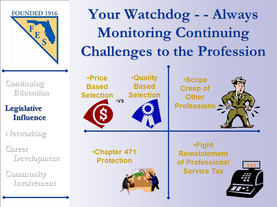 Your Watchdog - - Always Monitoring Continuing Challenges to the Profession Quality Based Selection Fight Reinstatement of Professional Service Tax Chapter 471 Protection VS Scope Creep of Other Professions Price Based Selection