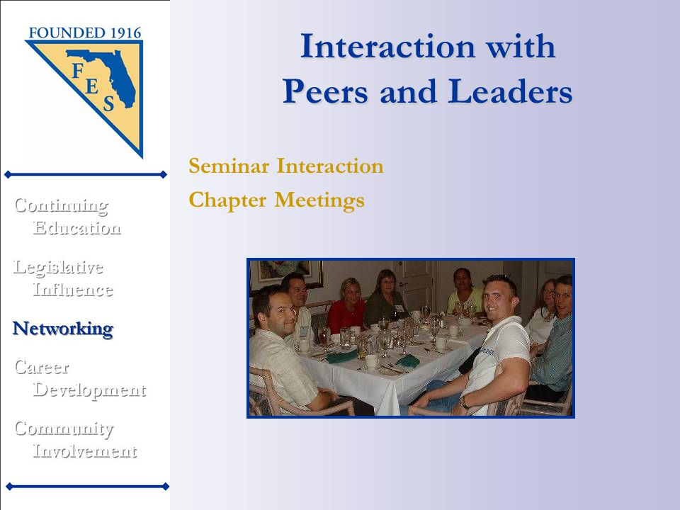 Interaction with Peers and Leaders Chapter Meetings Seminar Interaction