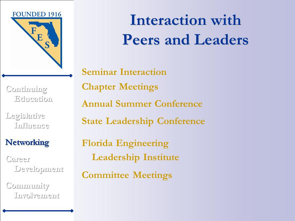 Annual Summer Conference Interaction with Peers and Leaders Chapter Meetings State Leadership Conference Florida Engineering Leadership Institute Committee Meetings Seminar Interaction