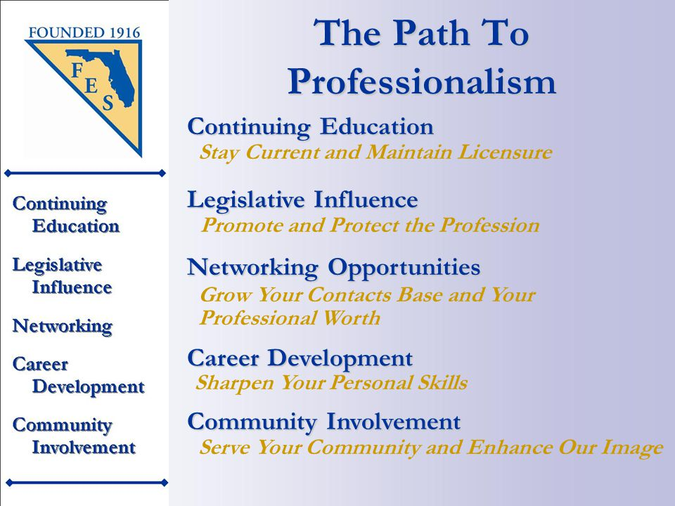 The Path To Professionalism Serve Your Community and Enhance Our Image Continuing Education Stay Current and Maintain Licensure Legislative Influence Promote and Protect the Profession Networking Opportunities Grow Your Contacts Base and Your Professional Worth Career Development Sharpen Your Personal Skills Community Involvement