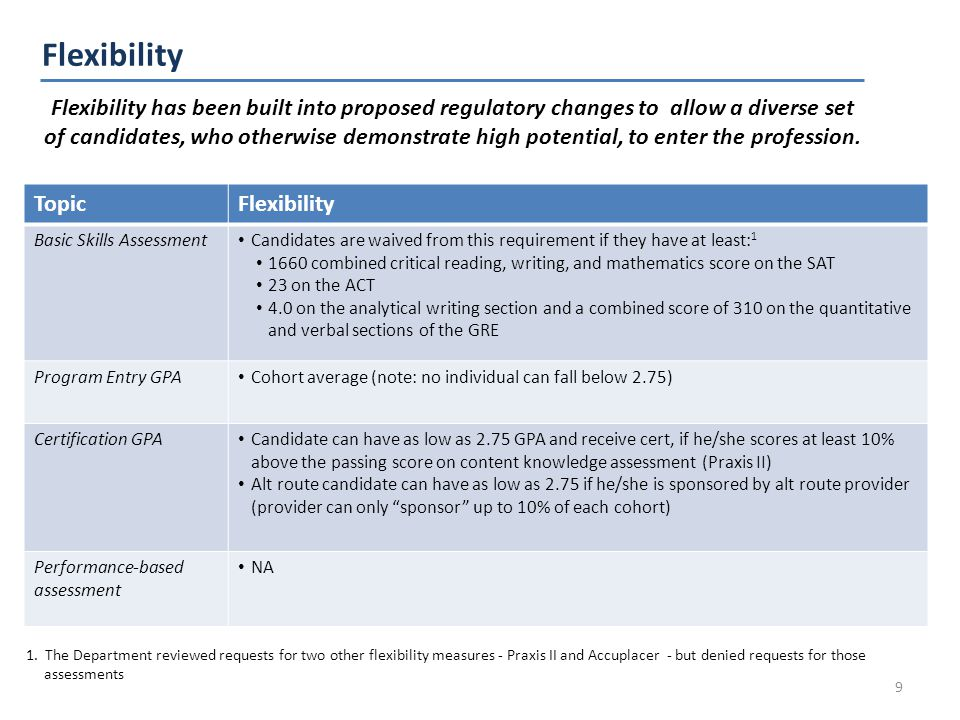 Flexibility 9 Flexibility has been built into proposed regulatory changes to allow a diverse set of candidates, who otherwise demonstrate high potential, to enter the profession.