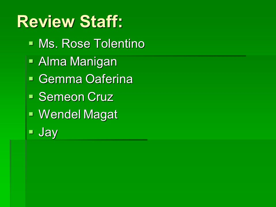 Review Staff:  Ms.