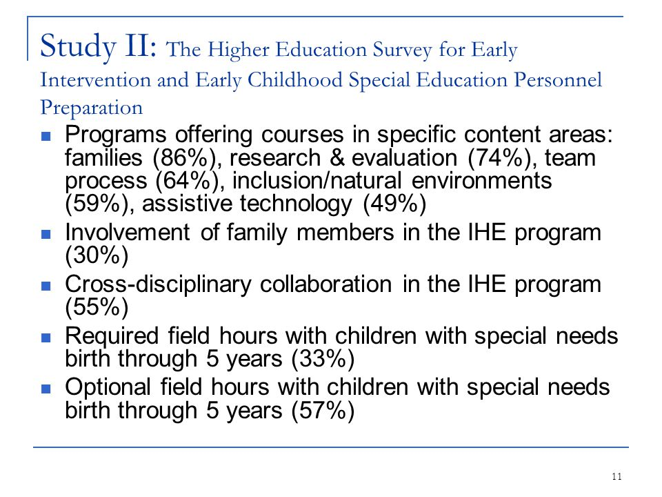 11 Study II: The Higher Education Survey for Early Intervention and Early Childhood Special Education Personnel Preparation Programs offering courses in specific content areas: families (86%), research & evaluation (74%), team process (64%), inclusion/natural environments (59%), assistive technology (49%) Involvement of family members in the IHE program (30%) Cross-disciplinary collaboration in the IHE program (55%) Required field hours with children with special needs birth through 5 years (33%) Optional field hours with children with special needs birth through 5 years (57%)