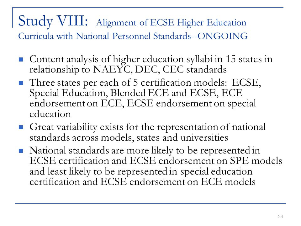 24 Study VIII: Alignment of ECSE Higher Education Curricula with National Personnel Standards--ONGOING Content analysis of higher education syllabi in